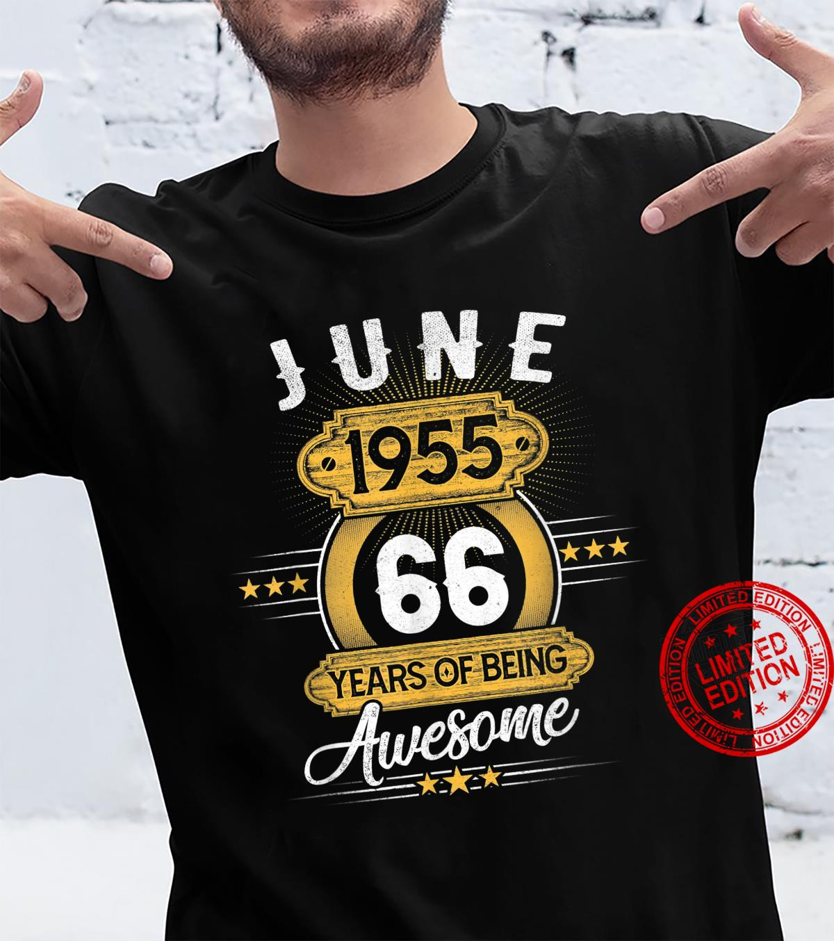 66 Year Old Retro June 1955 Limited Edition 66th Birthday Shirt