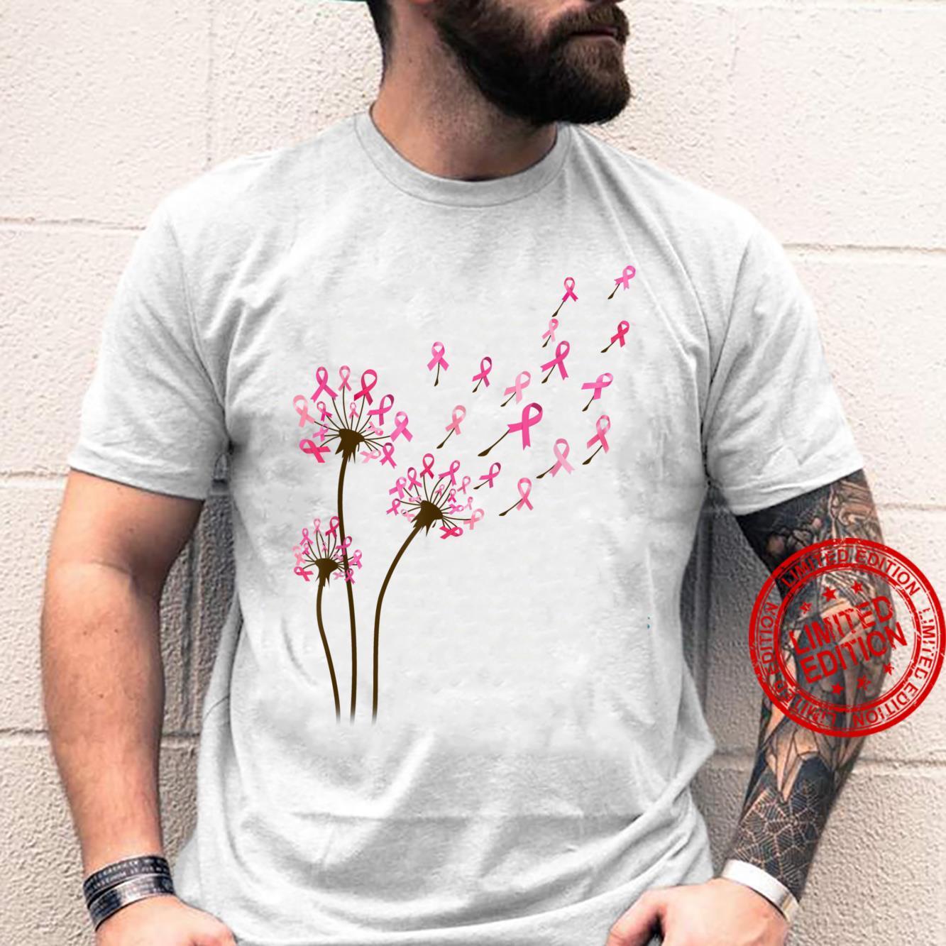 Dandelion Pink Ribbon Breast Cancer Awareness Flower Shirt