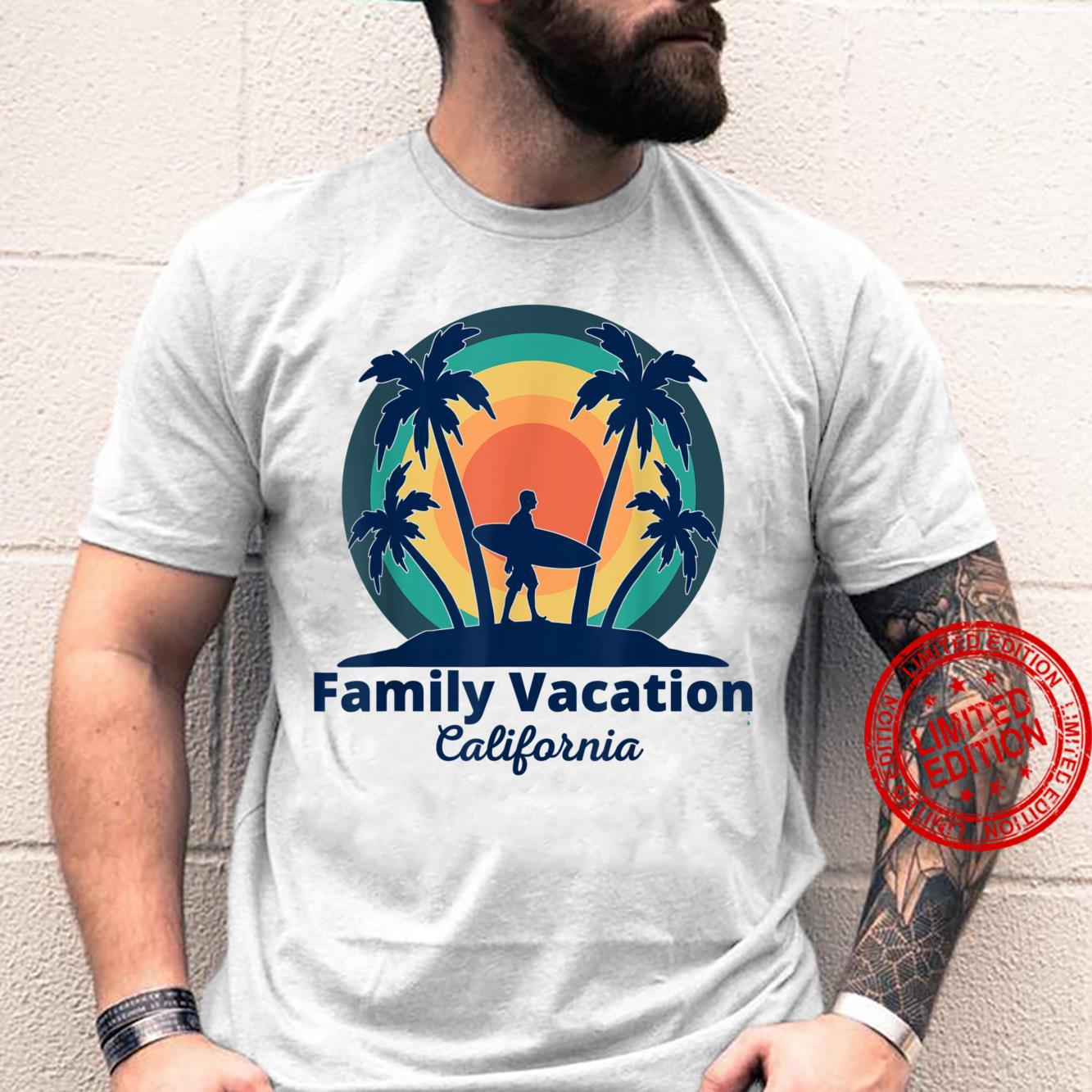 Family Vacation California Retro Surf Palm Trees Beach Trip Shirt