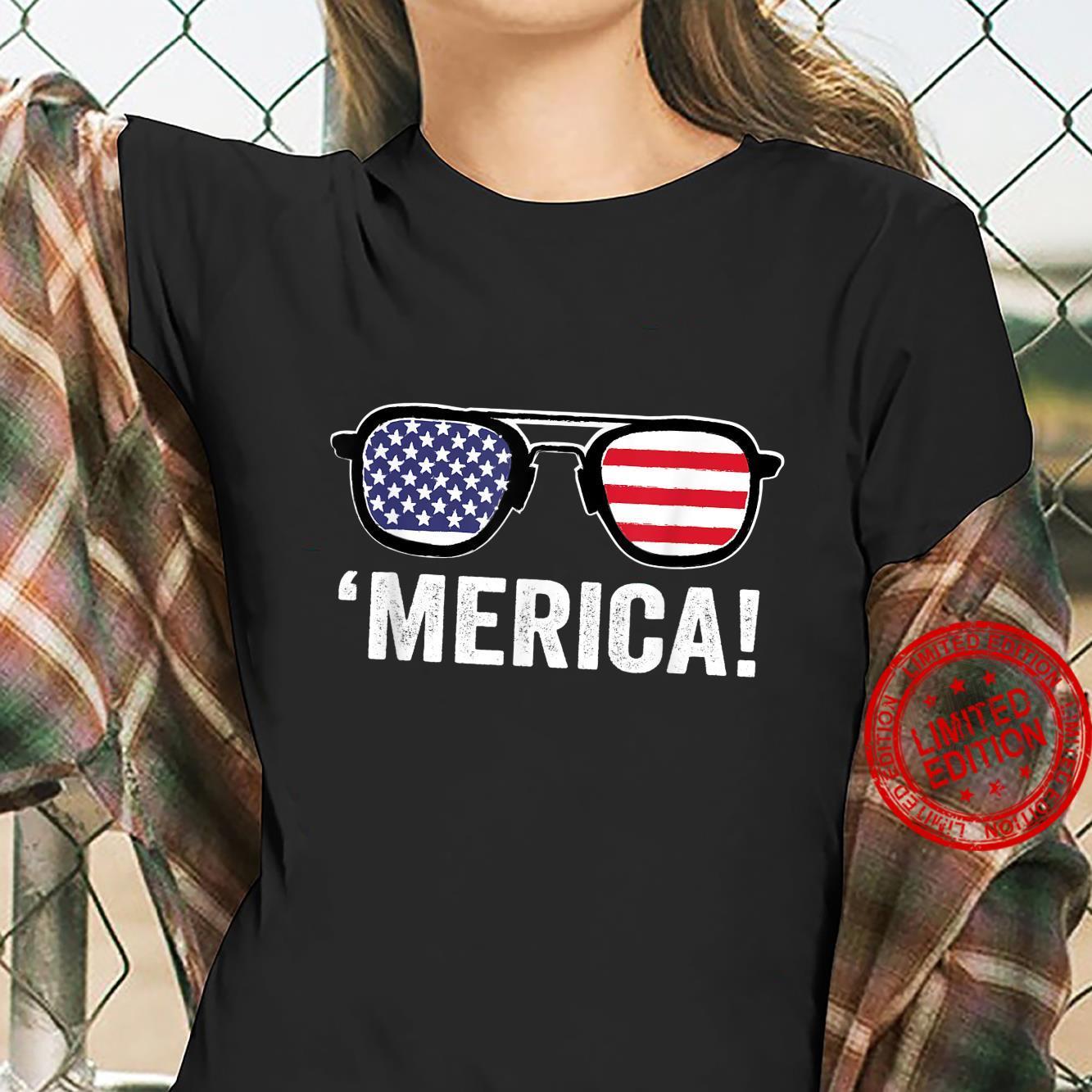 Merica Sunglasses 4th Of July Merica American Flag Patriotic Shirt ladies tee