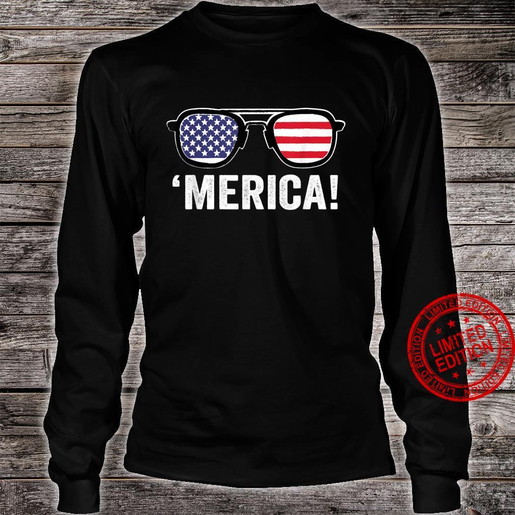 Merica Sunglasses 4th Of July Merica American Flag Patriotic Shirt long sleeved