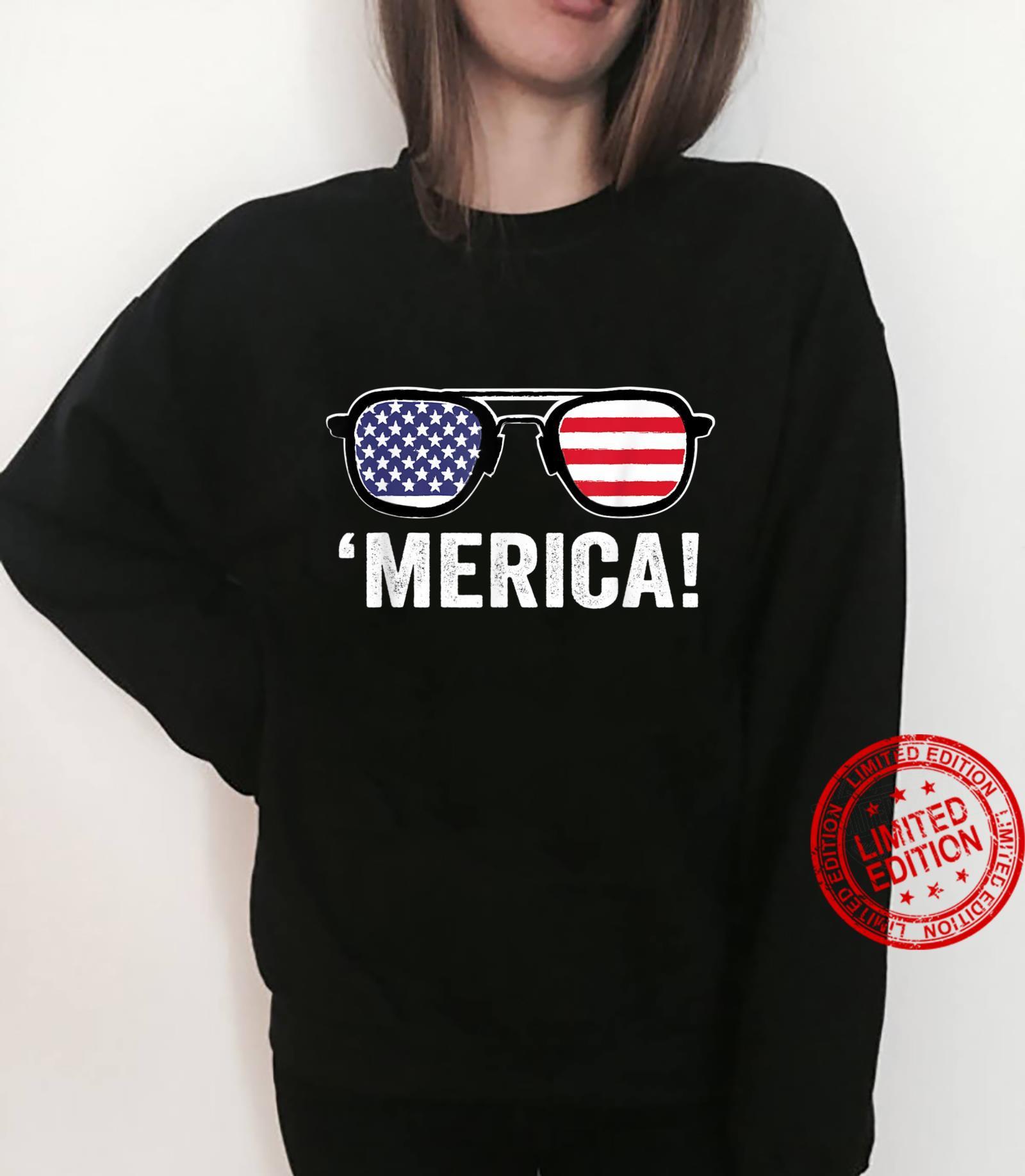 Merica Sunglasses 4th Of July Merica American Flag Patriotic Shirt sweater
