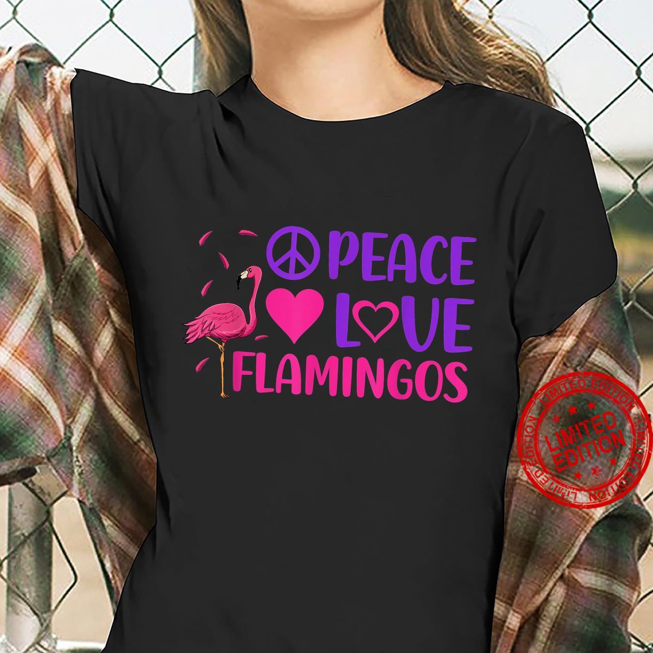 Peace Love Flamingo Pink Bird Flamingoss Hearts Shirt ladies tee