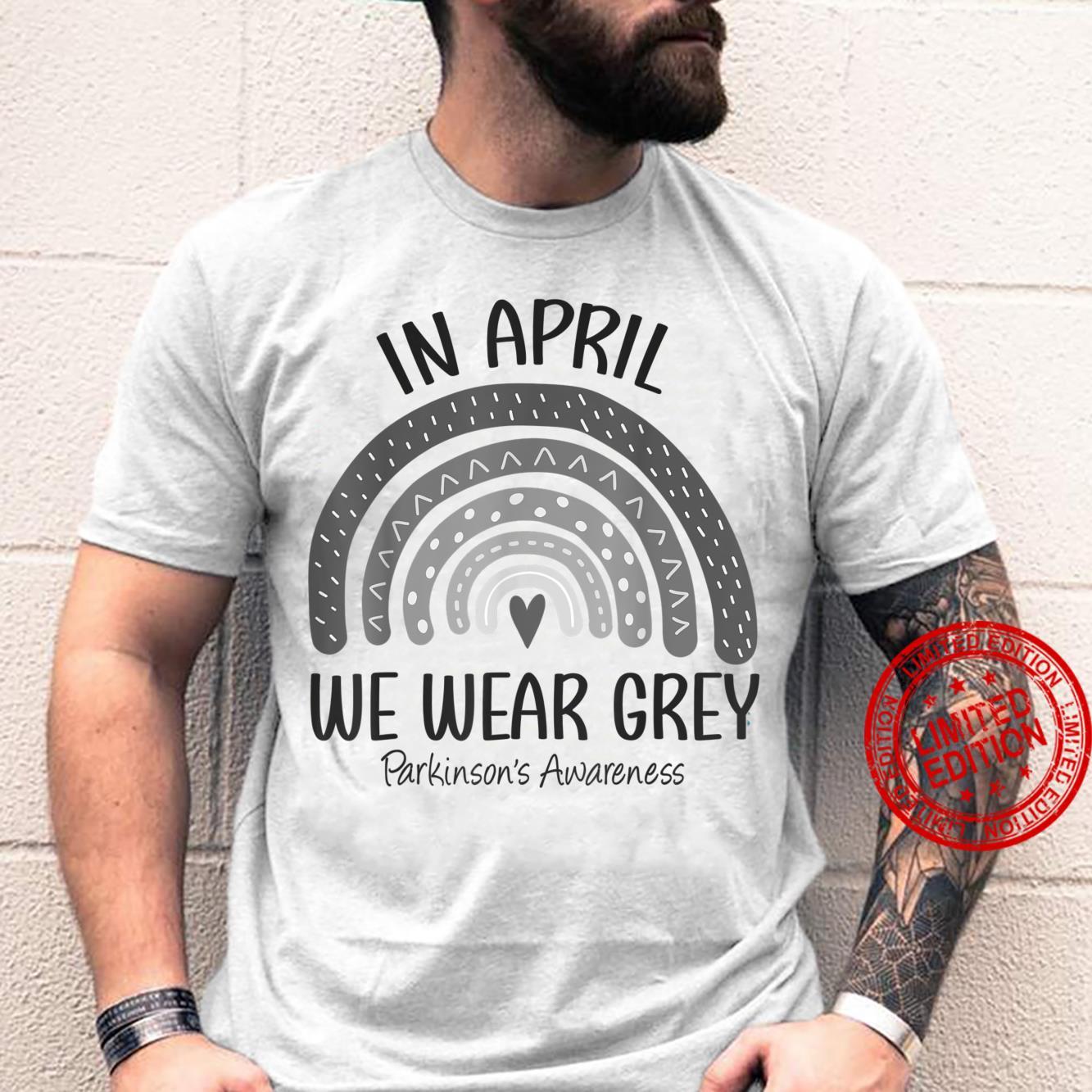 Rainbow In April We Wear Grey Parkinson's Awareness Month Shirt