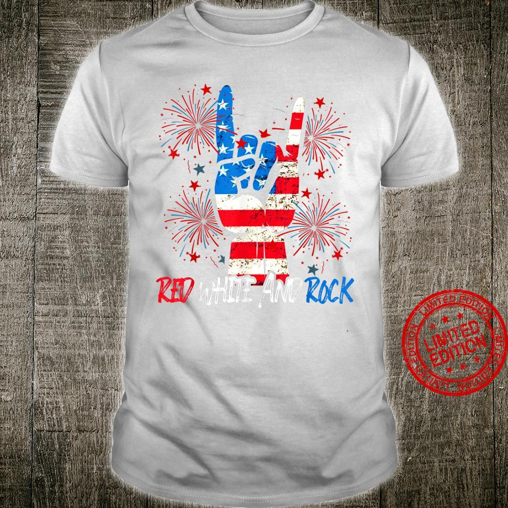 Red White And Rock Pride American 4th July Independence day Shirt
