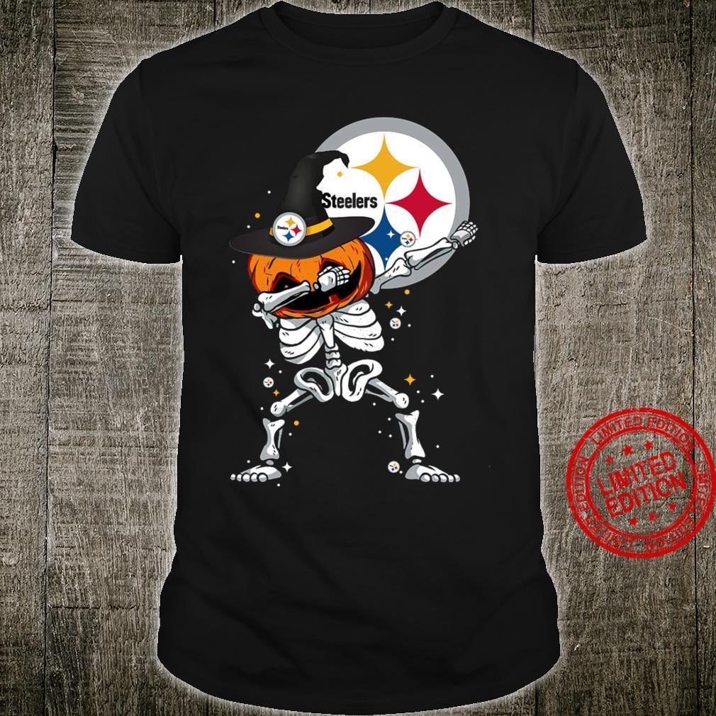 Skeleton Pumpkin Dabbing Steelers Happy Halloween Shirt