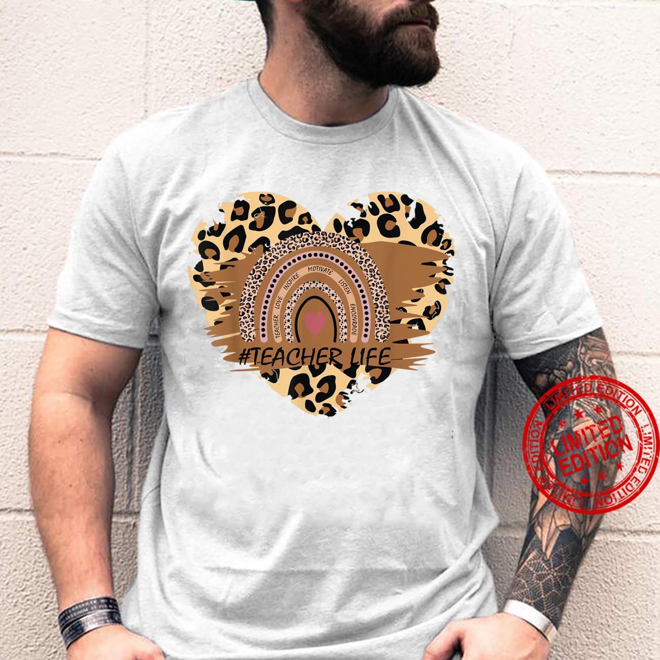 Teacher Life Leopard Animal Print Rainbow Shirt
