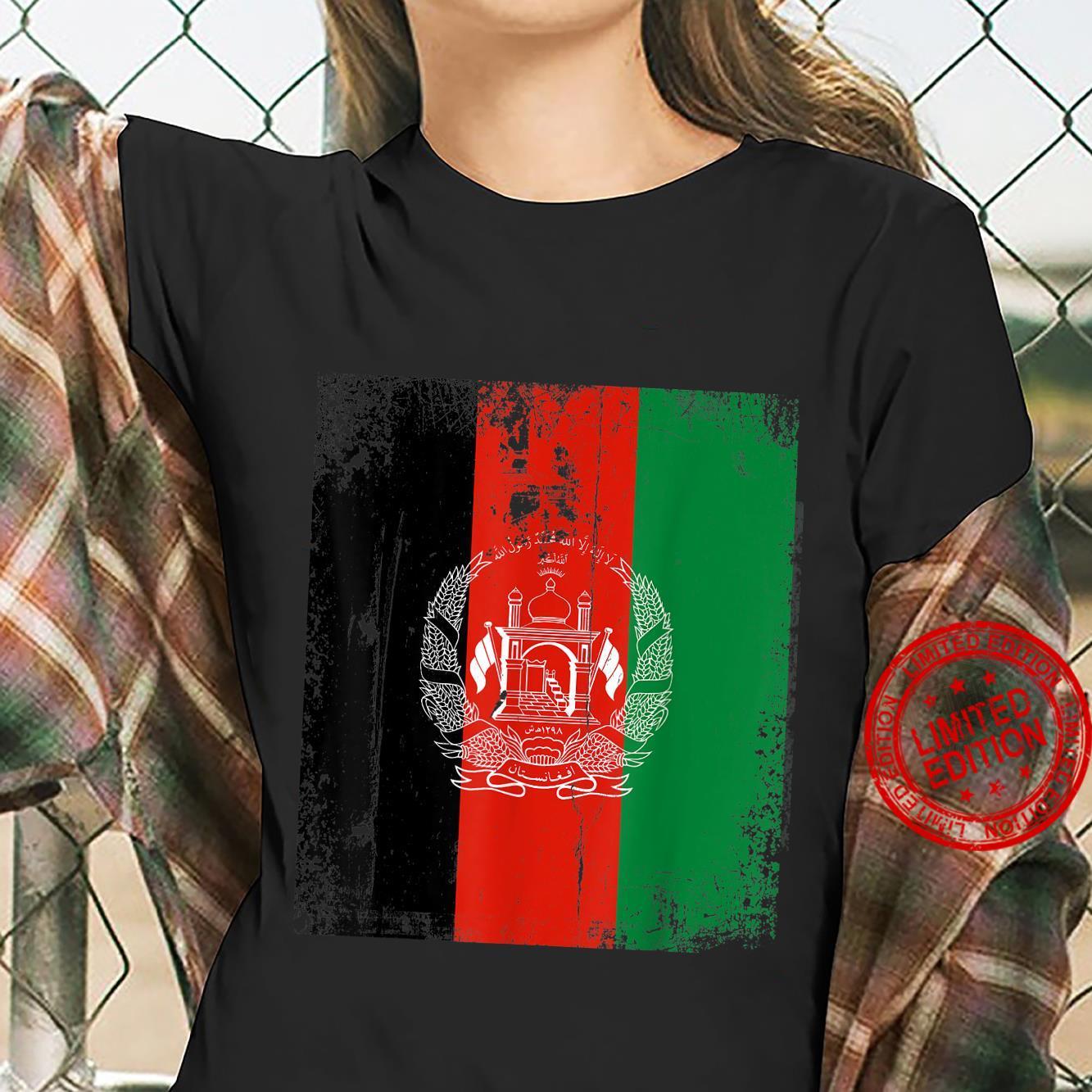 Vintage Afghanistan Afghan Flag Afghanistan Support Shirt ladies tee