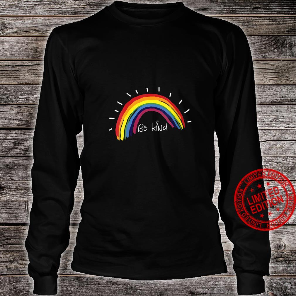 Womens Kindness Rainbow Positive Message Be Kind Shirt long sleeved