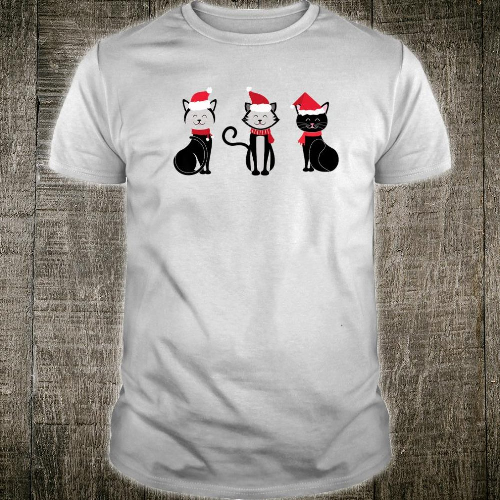 Christmas Black Cat Wearing Santa Hat And Ribbon Shirt