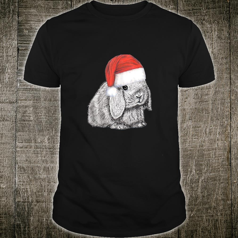 Dwarf Lop Eared Bunny Rabbit In Santa Claus Christmas Hat Shirt