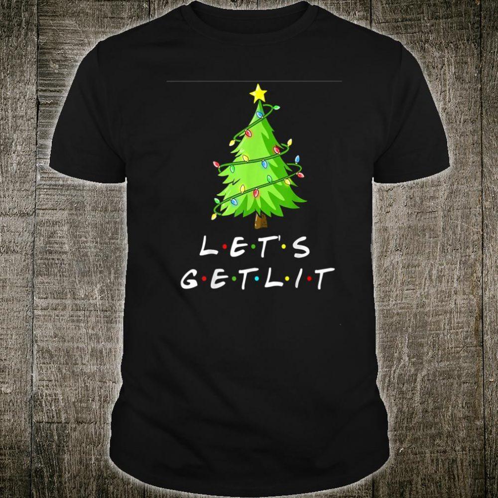Funny Pajama Let's Get Lit Christmas Tree Light Shirt
