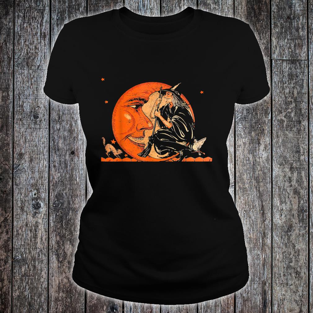 Great Vintage Witch and Moon Halloween Shirt ladies tee