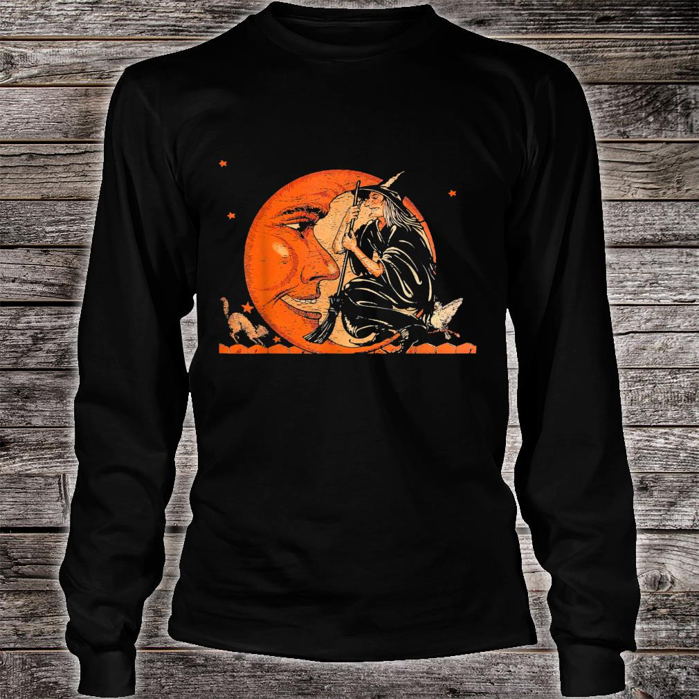 Great Vintage Witch and Moon Halloween Shirt long sleeved