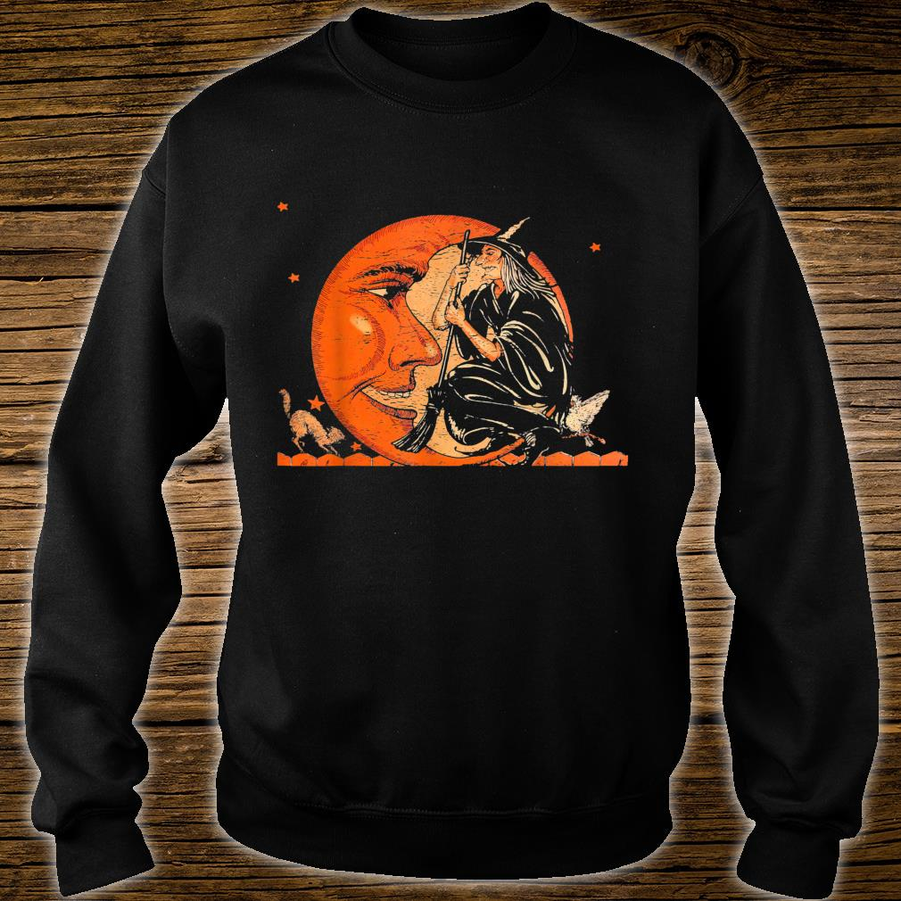 Great Vintage Witch and Moon Halloween Shirt sweater