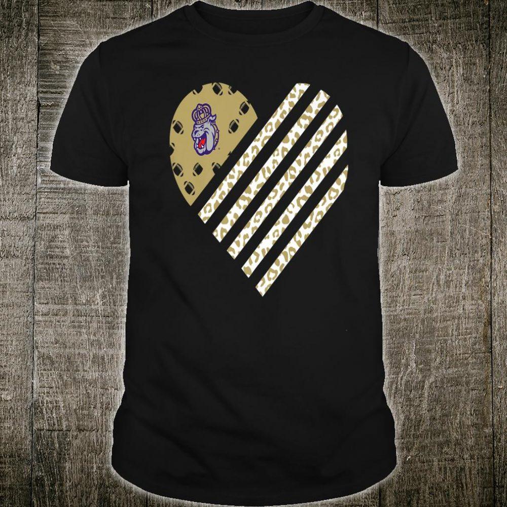 James Madison Dukes Football Leopard Flag Heart Shirt
