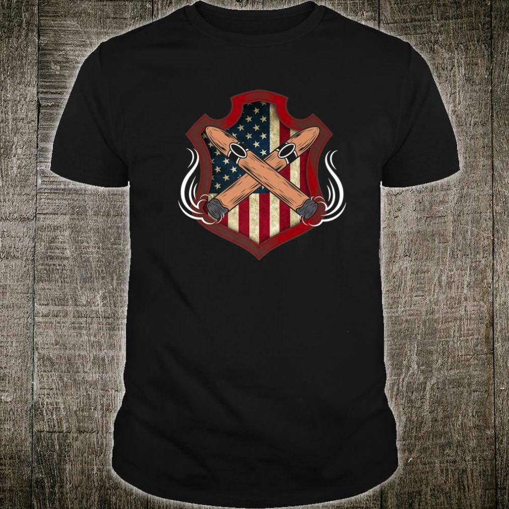 Mens American Flag Cigar Smoking Smoker Shirt