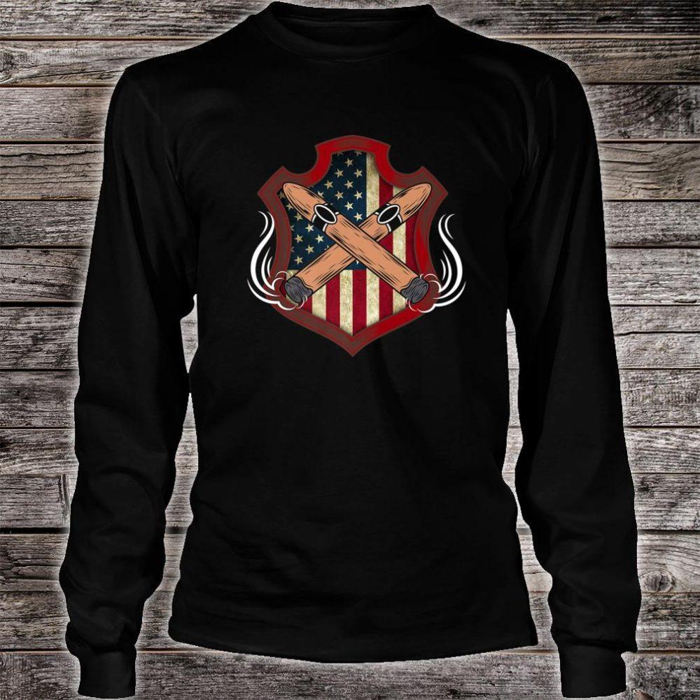 Mens American Flag Cigar Smoking Smoker Shirt long sleeved