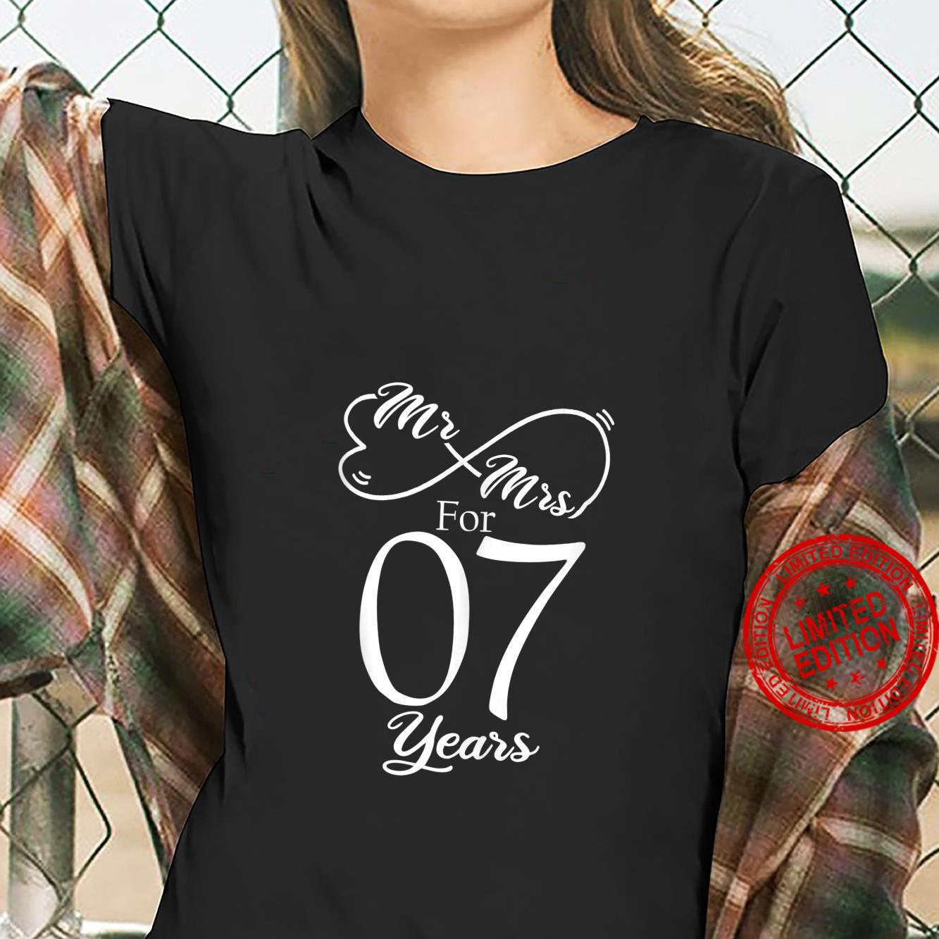 Mr. & Mrs. For 7 Years 7th Wedding Anniversary Matching Shirt ladies tee