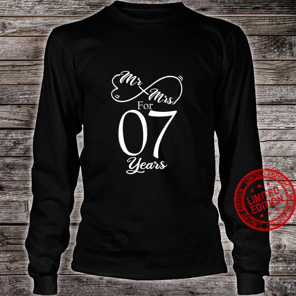 Mr. & Mrs. For 7 Years 7th Wedding Anniversary Matching Shirt long sleeved
