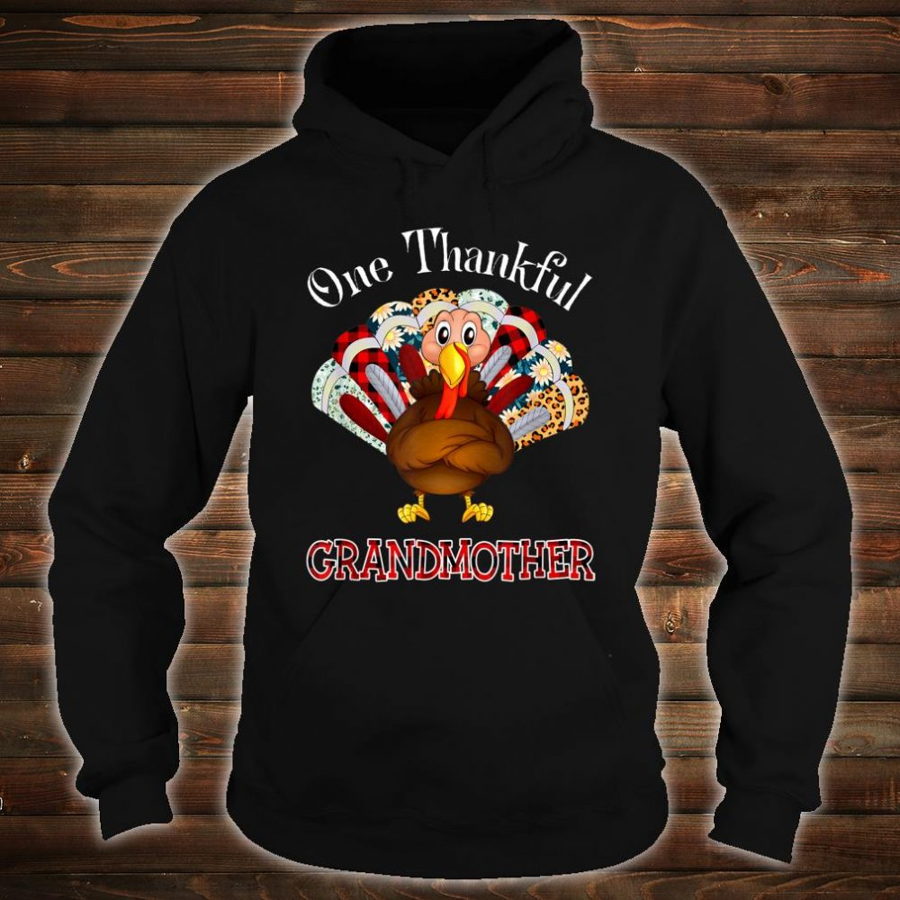One Thankful Grandmother Turkey Leopart Thankgivings Plaid Shirt hoodie