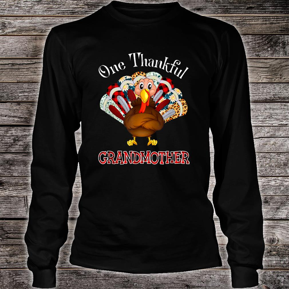 One Thankful Grandmother Turkey Leopart Thankgivings Plaid Shirt long sleeved