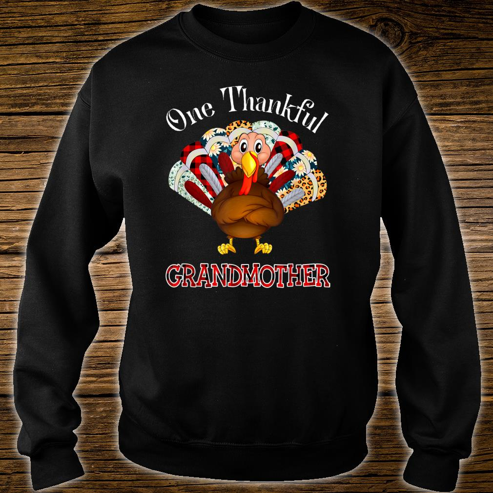 One Thankful Grandmother Turkey Leopart Thankgivings Plaid Shirt sweater