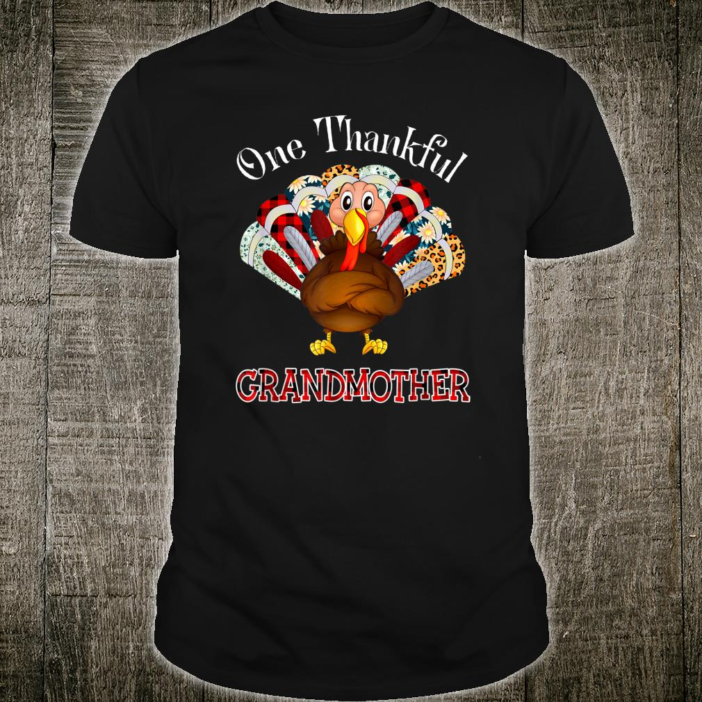 One Thankful Grandmother Turkey Leopart Thankgivings Plaid Shirt