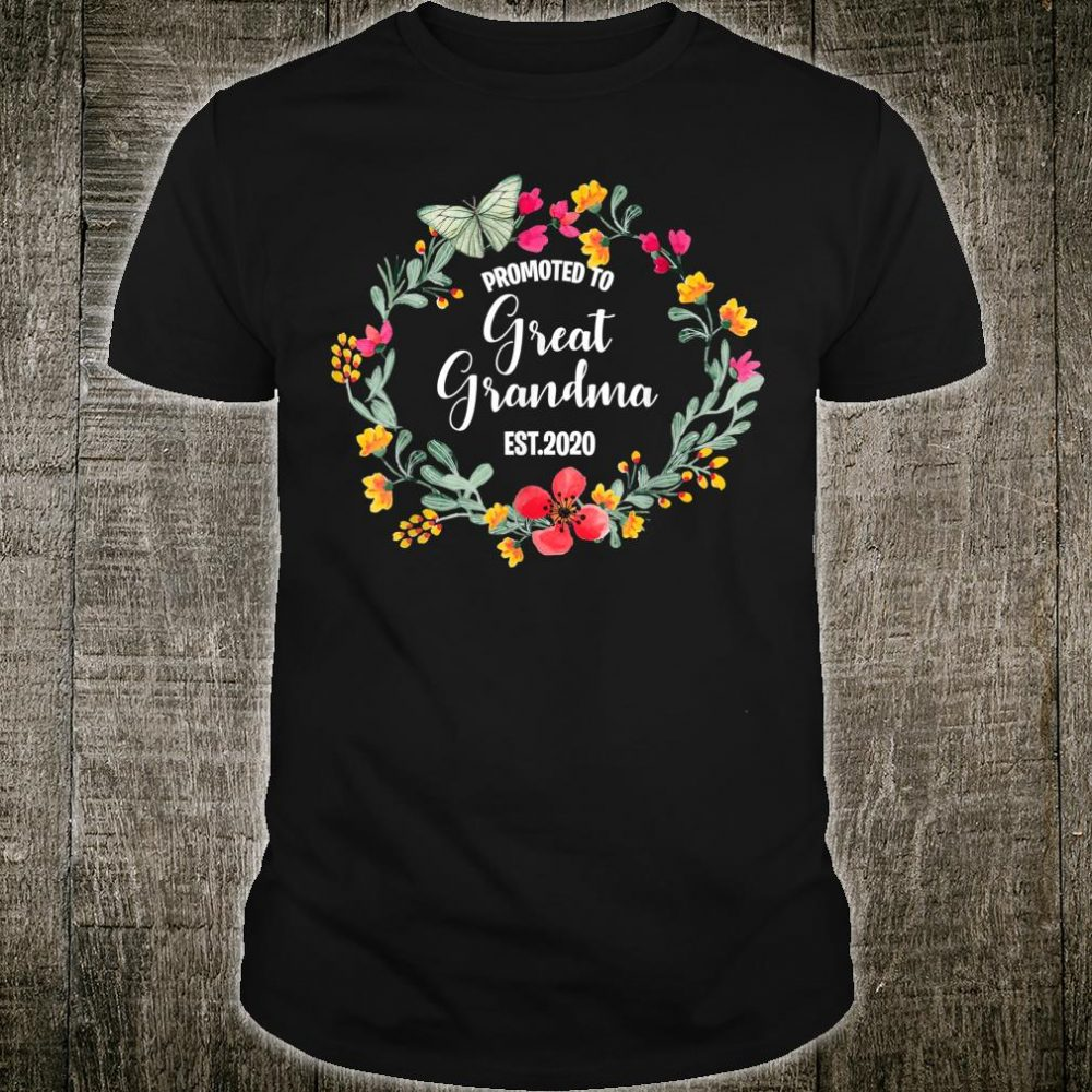 Promoted to Great Grandma Est.2020 For Mother's Day Mom Shirt