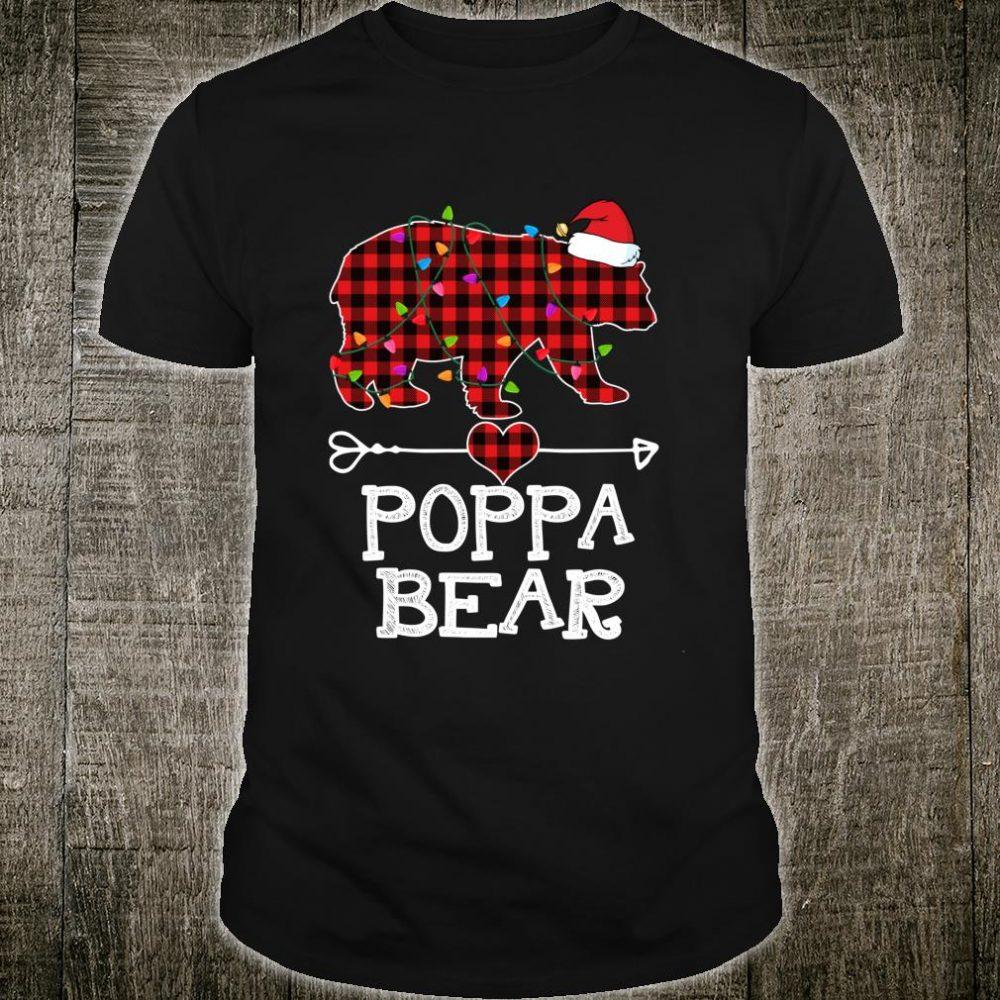 Red Plaid Poppa Bear Buffalo Matching Family Pajama Shirt