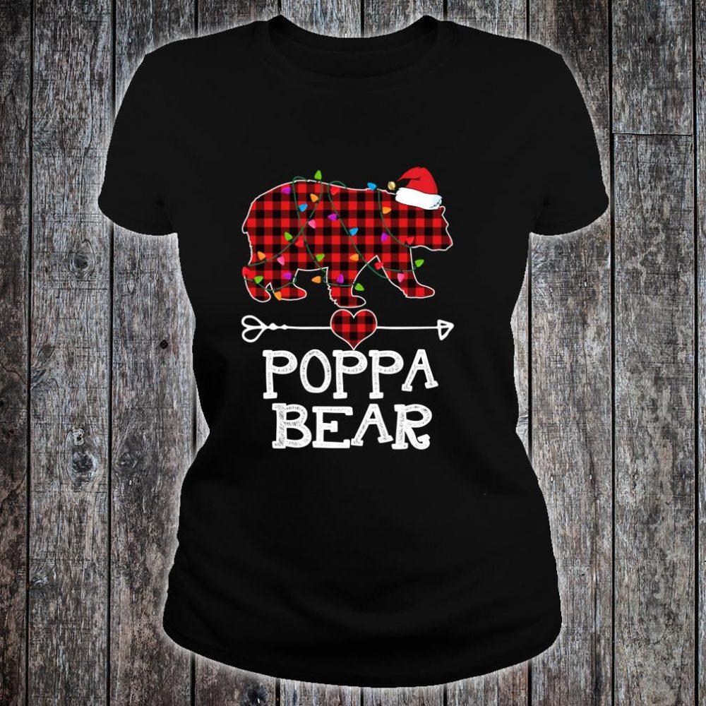 Red Plaid Poppa Bear Buffalo Matching Family Pajama Shirt ladies tee
