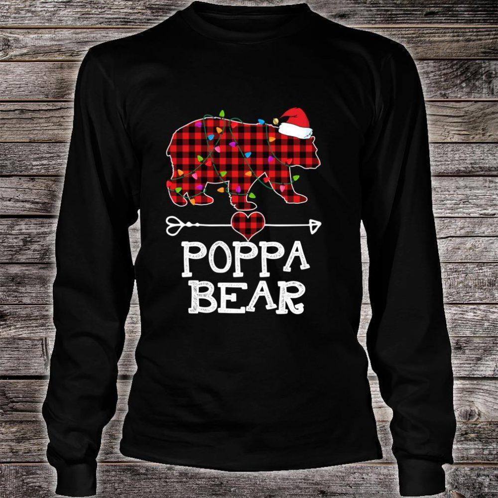 Red Plaid Poppa Bear Buffalo Matching Family Pajama Shirt long sleeved