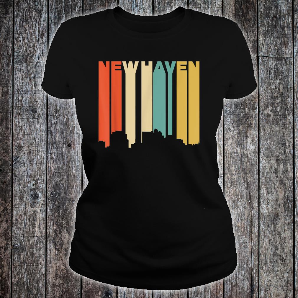 Retro 1970's Style New Haven Connecticut Skyline Shirt ladies tee