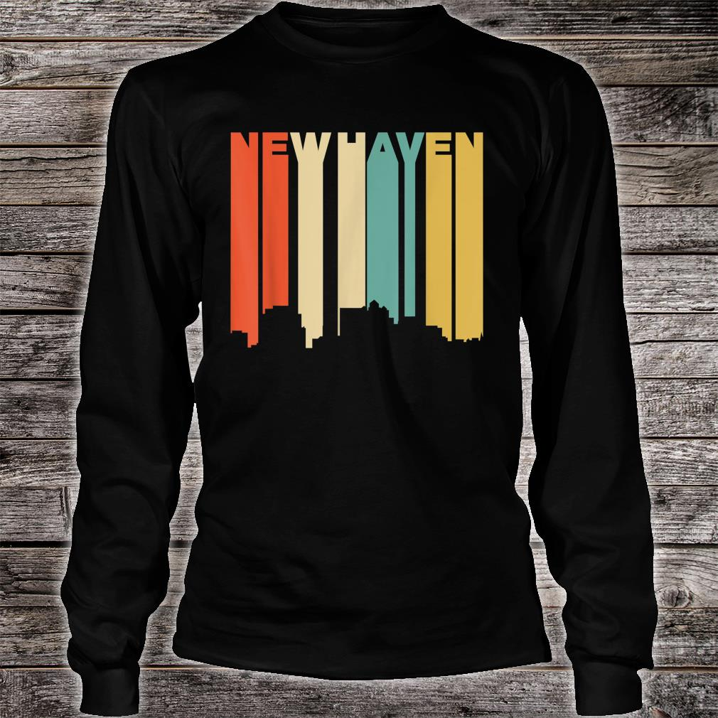 Retro 1970's Style New Haven Connecticut Skyline Shirt long sleeved