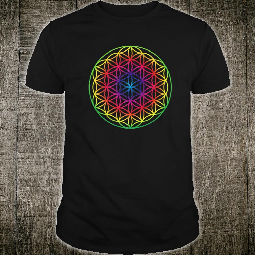 Sacred Geometry Flower Of Life Rainbow Mandala Shirt
