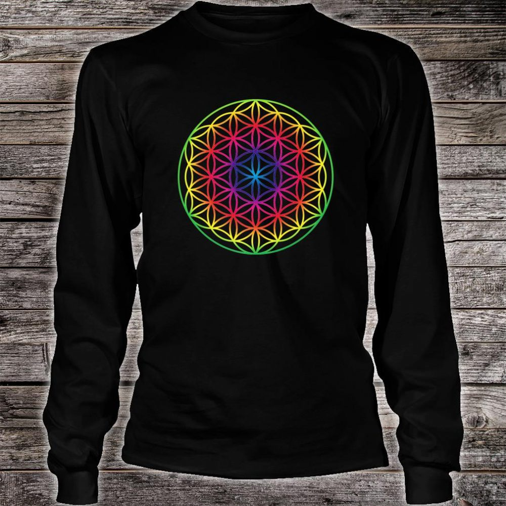 Sacred Geometry Flower Of Life Rainbow Mandala Shirt long sleeved