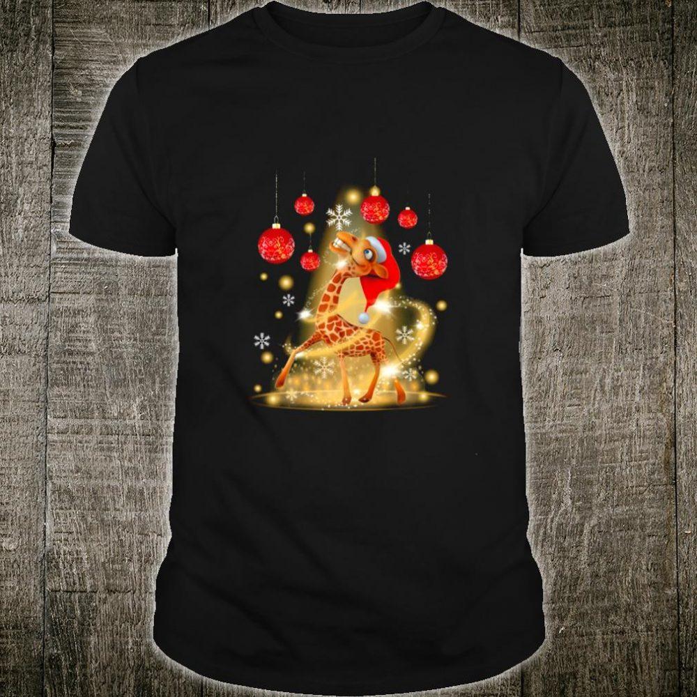Santa Giraffe Christmas Lights With Xmas Around Shirt
