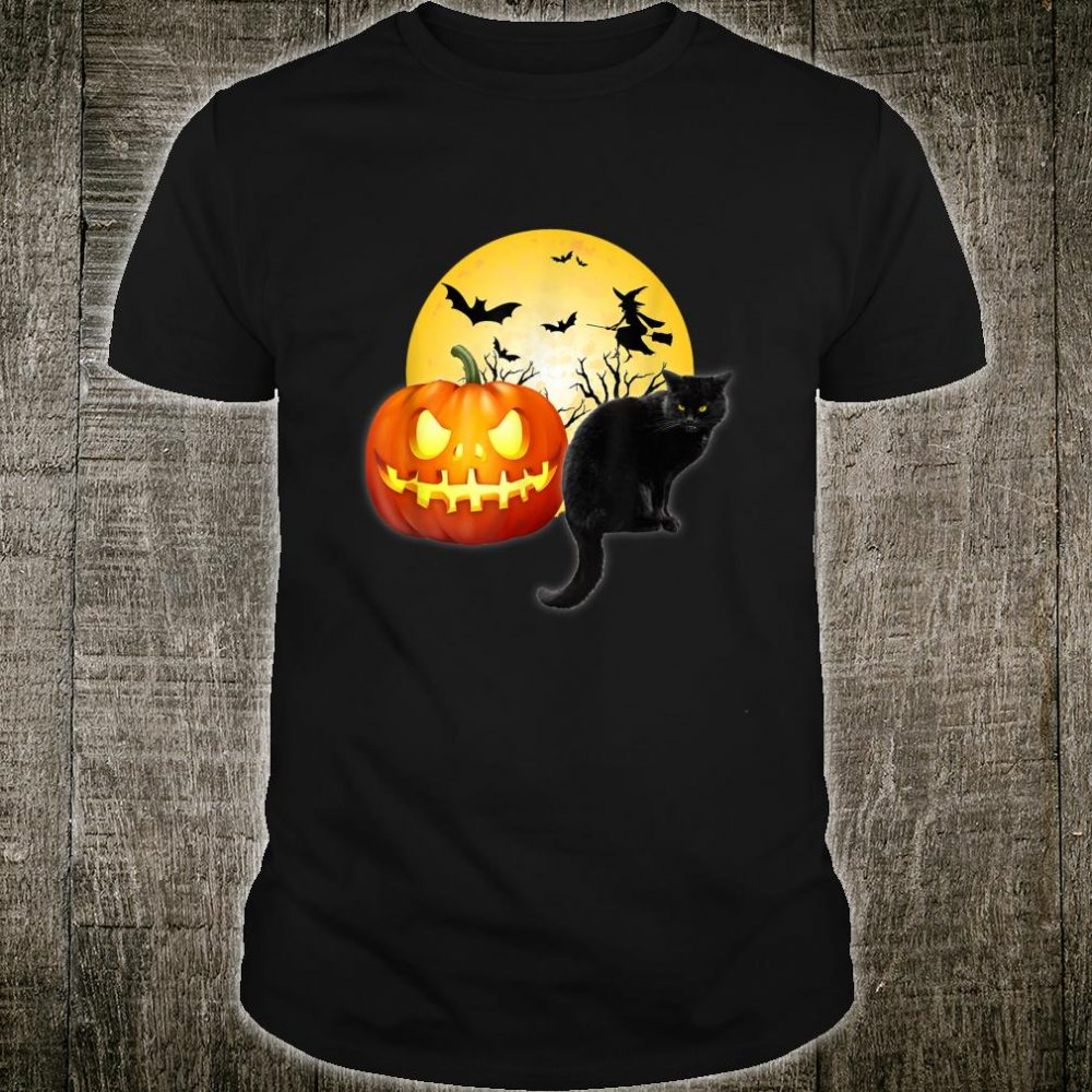 Scary Halloween Black Cat Witch and Pumpkin Meow Shirt