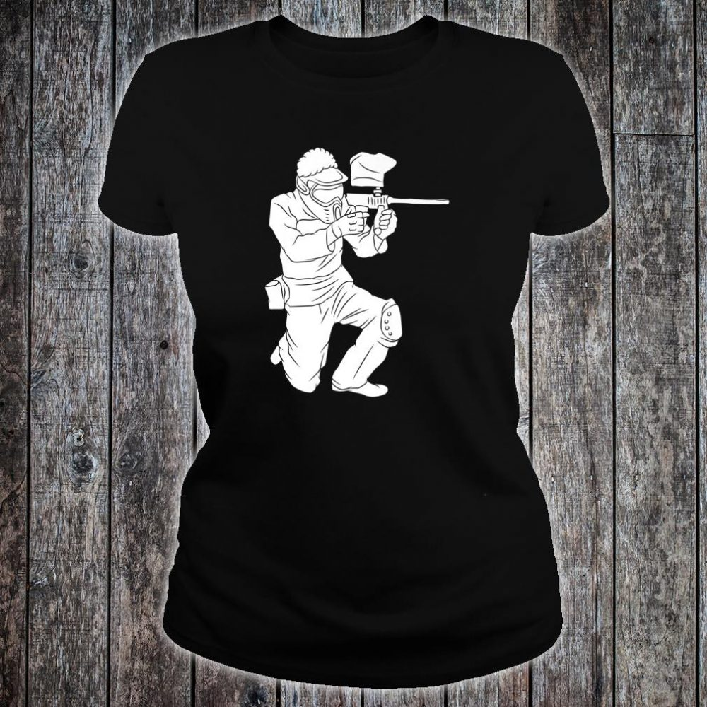 Silhouette Paintball Player Shooter Target Shooting Game Shirt ladies tee