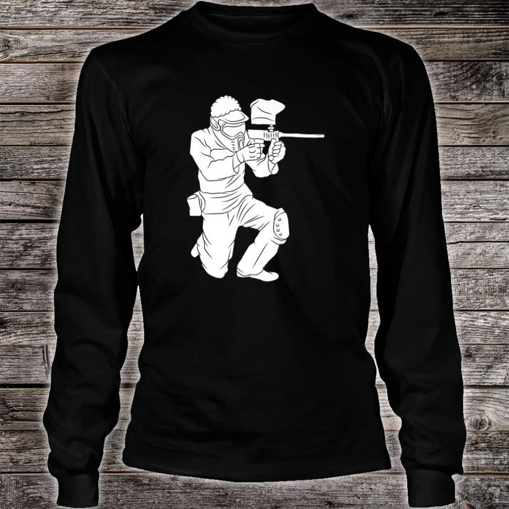 Silhouette Paintball Player Shooter Target Shooting Game Shirt long sleeved