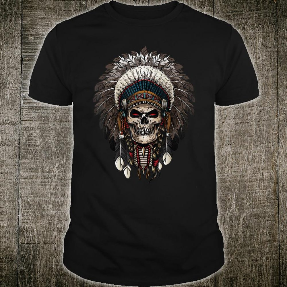Skull Chief indian Tribal Headdre for Indigenous Shirt
