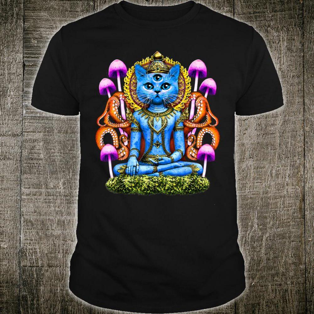 Spiritual Buddha Cat Tripping Balls On Mushrooms Drug Humor Shirt