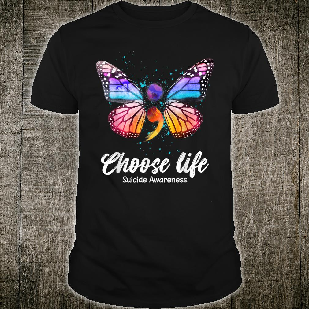 Suicide Prevention Awareness Semicolon Butterfly Shirt