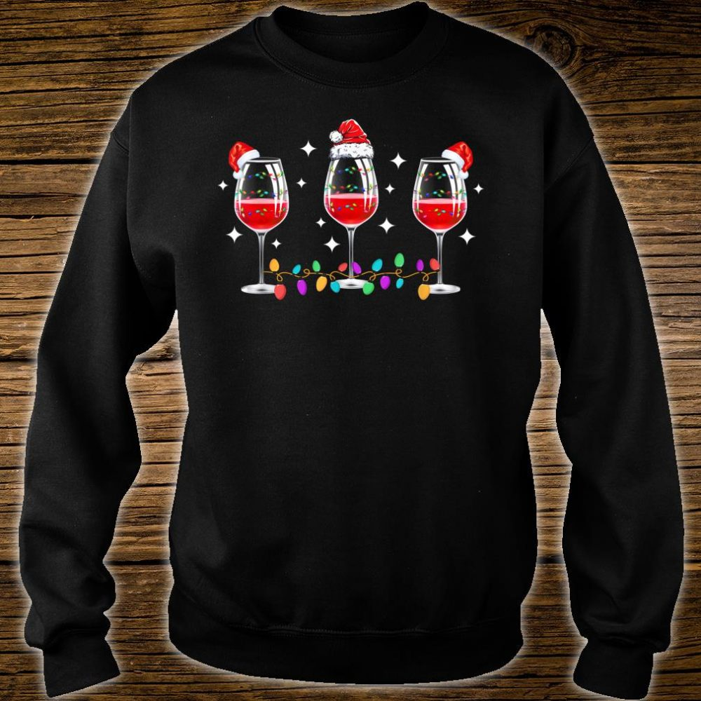 Three Glasses of Wine Christmas Lights Santa Hat Xmas Snow Shirt sweater