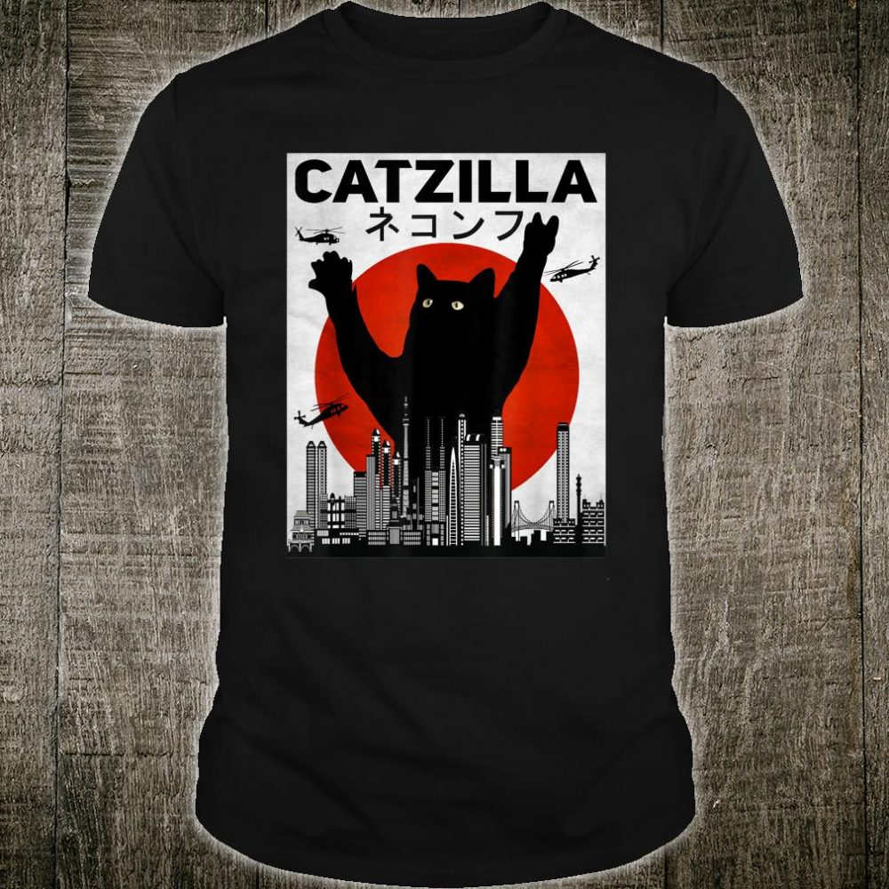 Vintage Catzilla Japanese Sunset Cat Kitten Shirt