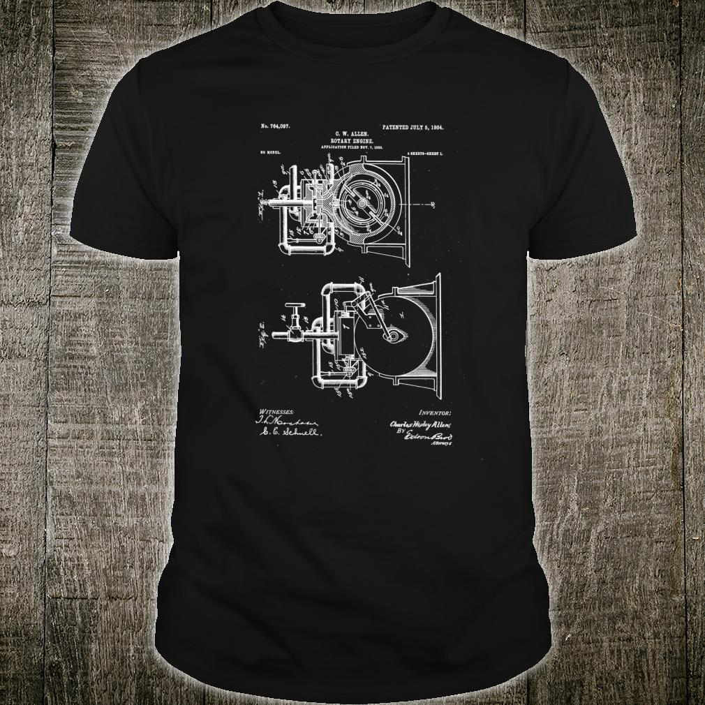 Vintage Patent Drawing C.W Allen rotary engine Shirt