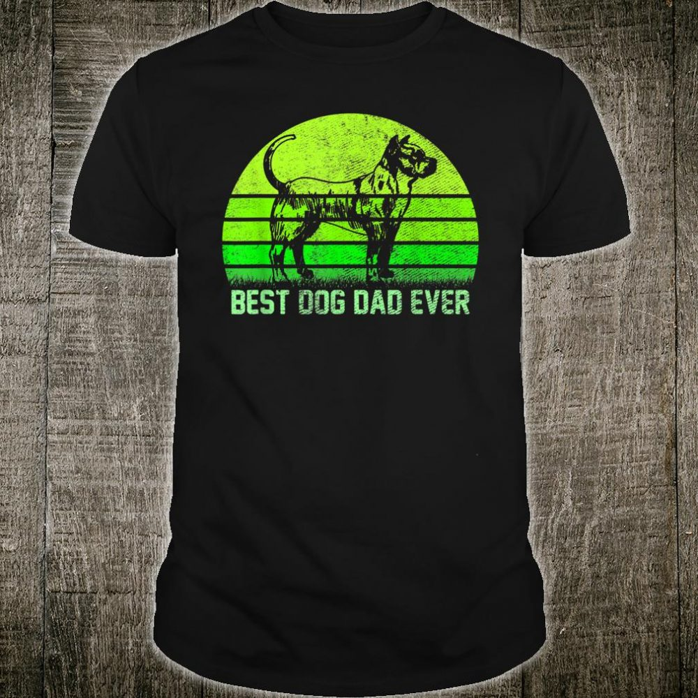 Vintage Retro Best Pit Bull Dog Dad Ever Silhouette Sunset Shirt