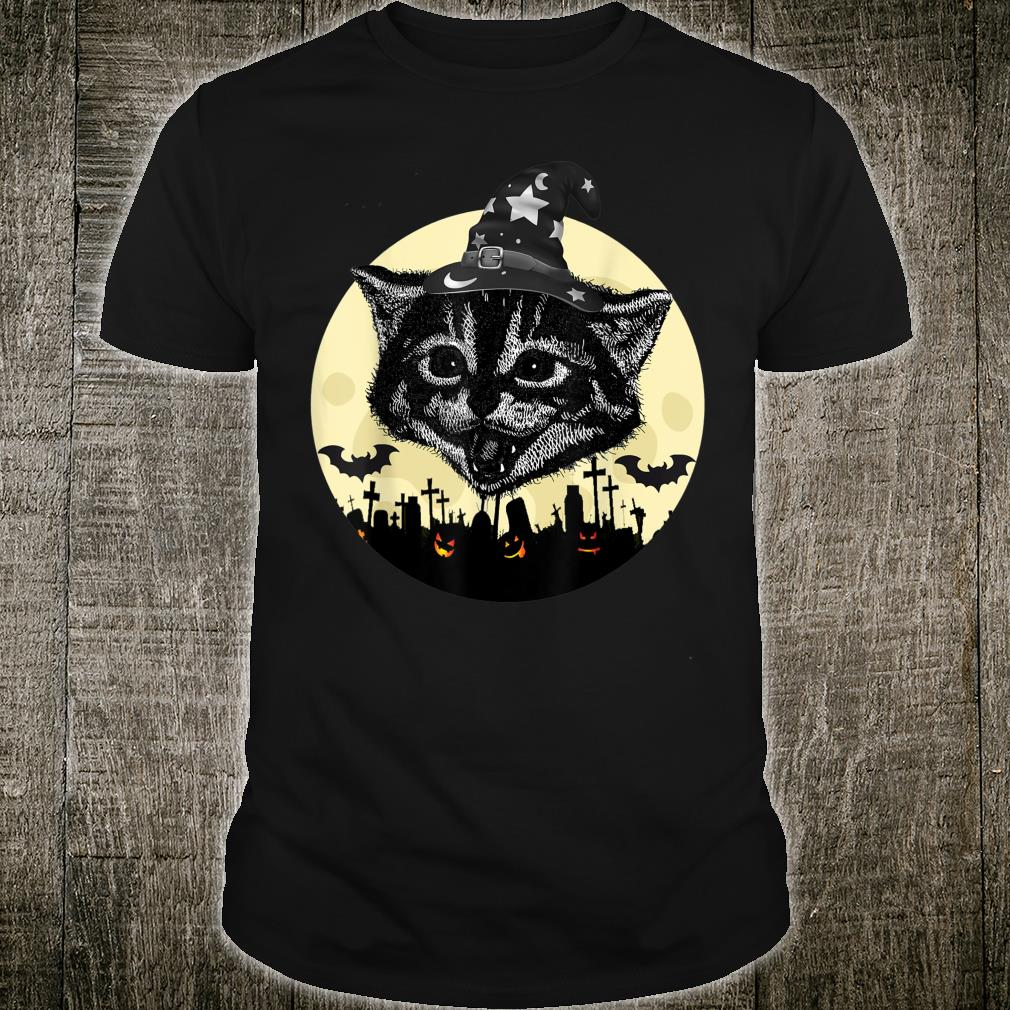 Vintage Scary Halloween Black Cat witch Hat Moon Pumpkin Bat Shirt