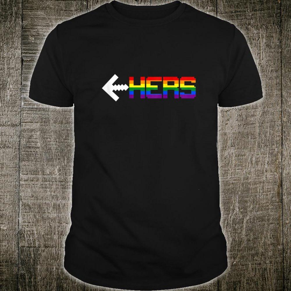 Womens HERS LGBT Rainbow Lesbian Couple Video Game Shirt
