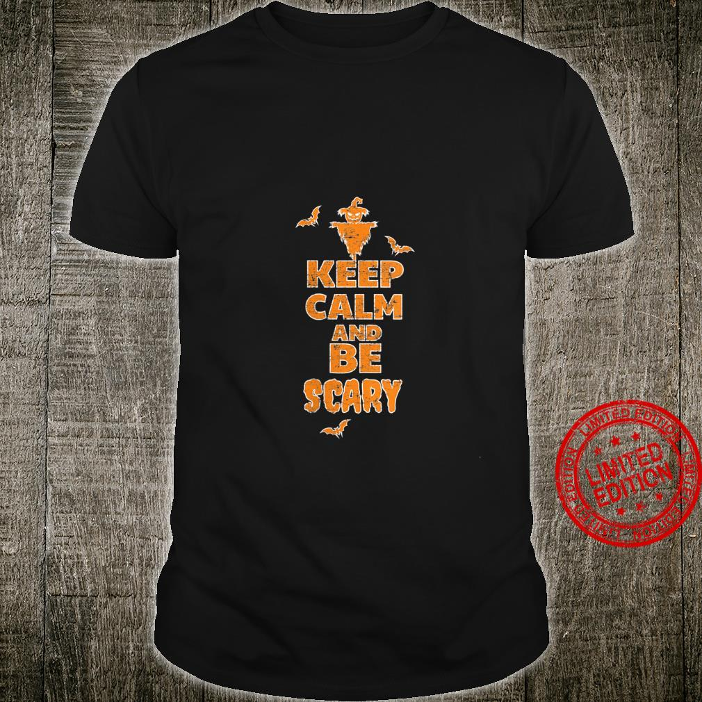 Womens Keep Calm Be Scary Scarecrow Bats Halloween Party Shirt